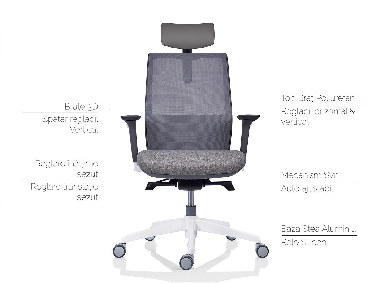 scaun ergonomic tesla gri